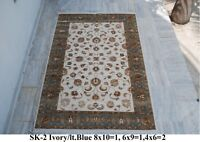India 180x270 6x9 Hand Knotted Soft Wool Viscose Art Silk Carpet Area Rug