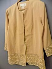 FIFTH SUNDAY EXCLUSIVE WOMENS 16 GOLD SEQUIN OPEN DUSTER BLAZER SUIT TOP {18}