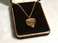 Vintage Unmarked Goldtone Heart Shaped Locket with Heart and Flower Design