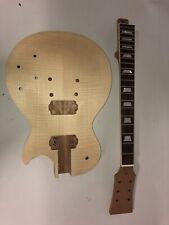 BULLDOG LP-S Flame Top Guitar Bare Neck & Body Kit, Blank Les Paul Project