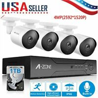 A-ZONE 4MP 4CH NVR POE Security Camera System Video Audio Recording CCTV 1TB HDD