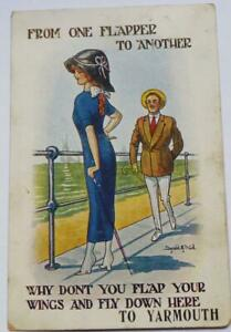1914 Donald McGill postcard from one flapper to another at Yarmouth