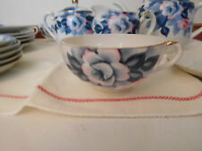 Vtg Tea Coffee Dessert Set Porcelain Eggshell Thin Cups Blue Floral JAPAN 19 Pc