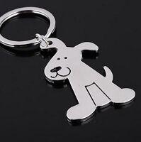 Porte-clés, bijou de sac motif mignon chien en acier argenté.