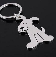 Porte-clés, bijou de sac motif mignon chien en acier argenté