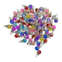 50pcs Lot Glass Bead Charms Floral Cap Lambwork Pendants Jewelry Making Finding