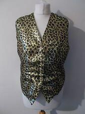 Women's Black Gold Pattern V Neck   Waistcoat Vest by Spicy Size 12