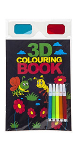 Children 3D Colouring Book with Felt Pens and Glasses Three Dimensional Images