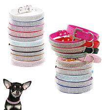 Varios Colores Diamante Estrás Cristal Perro Cachorro Gato Collares Cuero Banda