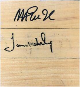 Magic Johnson James Worthy Dual Signed Autograph 4.5x4.5 Original Forum Floor A1