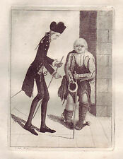 John Kay Original Antigua Grabado. Hugo Arnot, Esq., y pan de jengibre Jock, 1784