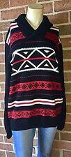 Ralph Lauren CHAPS Aztec Shawl Collar Pullover Sweater Red/Black Large