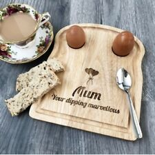 Personalised Boiled Egg Board Breakfast Cup Soldiers Easter Engraved Wooden