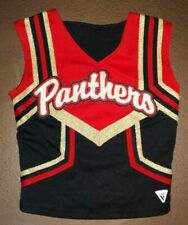 Real Authentic Black Red Gold Varsity Panthers Cheerleader Cheer Uniform Top