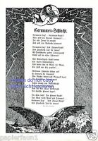 Germanen Schlacht XL Kunstdruck & Gedicht von 1914 Thors Hammer Blitz Germane +