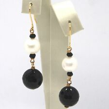 DROP EARRINGS YELLOW GOLD 18K, WHITE PEARLS, ONYX BLACK FACETED