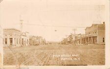 Moville Iowa~Main Street West~Auto Filling Gas Station~Beard's Market~1912 RPPC