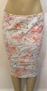 White Womens Spring Colors Floral Skirt Size 8