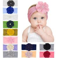 Soft Newborn Baby Girls Kid Nylon Bow Head Wrap Turban Headband Accessories