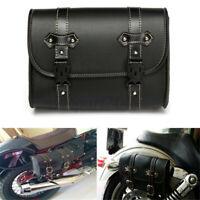 Universale Moto Borse Laterali Saddle Bag Bisacce Rigide Pu Pelle Nero Custom
