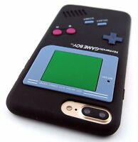 iPhone 6/6S/7/8+PLUS - SOFT SILICONE RUBBER SKIN CASE COVER BLACK GAMEBOY PLAYER