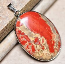 "Bloodstone Jasper Sea Sediment Quartz Natural Gemstone 1.75"" Silver Pendant #05"