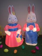 "HTF New Set of 26"" Mr. & Mrs. Easter Bunny Lighted Blow Mold Yard Decorations"