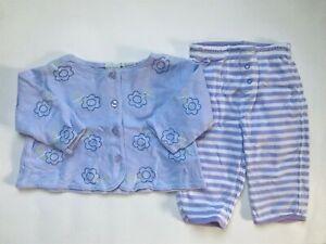 Girl's Size 6M 3-6 Months Two Piece Purple Floral L/S Top & Baby Gap Pants