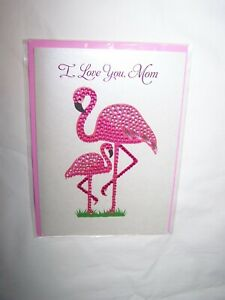 Papyrus Mother's Day Greeting Card & Envelope; Jeweled Flamingoes