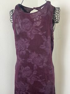 Vintage 90s Deep Purple Floral Semi Sheer Mini Dress Size Medium USA Made
