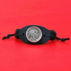 US 1936 Indian Head Buffalo Nickel 5 Cent Coin Genuine Leather Bangle Bracelet