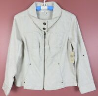 TB06660-NWT COLDWATER CREEK Women Cotton Shaped Jacket Embroidered Beige P12 $89