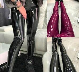 Women Stretchy Shiny Wet Vinyl Leather High Waist Skinny Pants Trousers Leggings