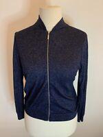 Navy Bomber Style Zip Up Sparkle Fine Knit Cardigan Size 14