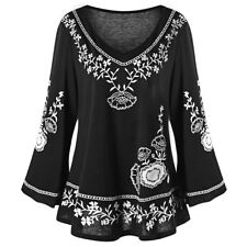 Women's Plus Size Floral Embroidery V Neck Casual Long Sleeves Tunic Top Blouse