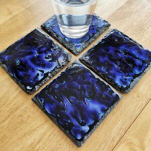 ENAMELLED ENAMEL PAINTED SLATE COASTERS HANDMADE NEBULA BLUE 2 4 6 PER SET D5