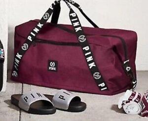 Victorias Seret PINK Duffel Bag Maroon Travel Gym weekender NWT