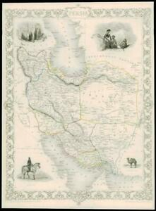"1851 Illustrated Antique Map of ""PERSIA"" IRAN Ispahan by John Tallis  (DW166)"
