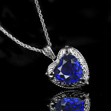 Handmade Vintage Art Deco Sterling Silver Heart Lab sapphire Necklace Pendant
