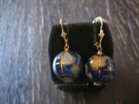 Rarität originelle Vintage Ohrringe Weltkugel Globus Erde 925er Silber gold blau