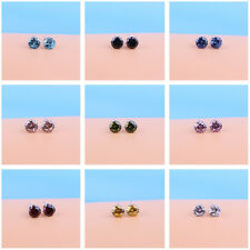 50Pcs Wholesale Lots 6mm Round Cubic Zirconia CZ Silver Tone Stud Earrings Gift