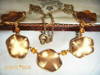 ART DECO Czech VAUXHALL MIRROR GLASS Abstract Leaf Vintage Bridal NECKLACE