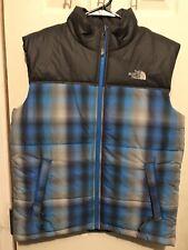 The North Face Bubble Vest Blue Plaid Size Youth Large Mint Condition