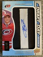 Julien Gauthier Hurricanes SP Game Used 2019-20 Draft Day Marks 10/35