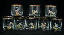 New listing Set of 8 vtg Ned Smith Game Birds Barware Low Ball Rock Whiskey Glasses Gold Rim