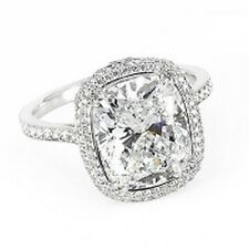 1.70 Ct GIA D,VS1 Cushion Cut Diamond Engagement Ring Micro Pave Halo Ring 14KWG