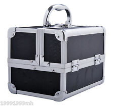 HomCom Cosmetic Makeup Box Train Travel Case Jewelry Organizer Storage Aluminium