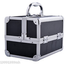 HomCom Aluminium Cosmetic Makeup Box Train Travel Case Jewelry Organizer Storage