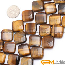 16mm Natural Square Tiger's Eye Gemstone Loose Beads For Jewelry Making 15""