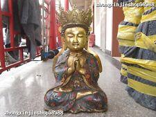 Tibetan Folk Temple Bronze gild Cloisonne Shakyamuni Tathagata Buddha statue